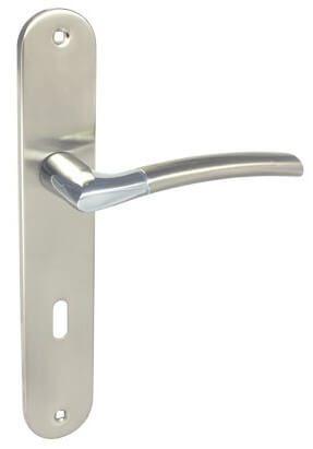 Πόμολα Πόρτας με Πλάκα Perfect 224 Ματ Νίκελ Χρώμιο