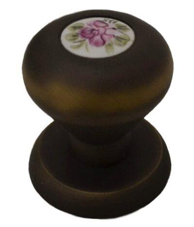 Μπουλ Εξώπορτας Linea Cali Elika Σατινέ Μπρονζέ με Προσελάνη Λουλούδι